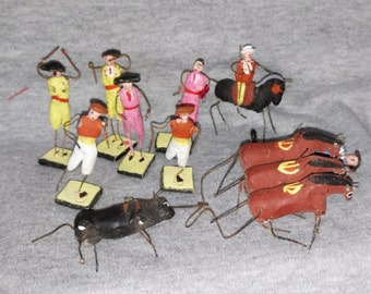 REDUCED Bull Fight, Mexican, Clay Figures, Handcrafted, Miniature, Souvenir,
