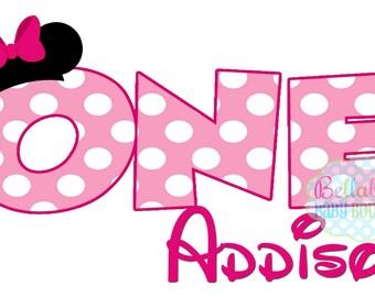 Minnie Mouse Birthday IRON ON TRANSFER - Tshirt - Bodysuit - Girl - Tote Bags