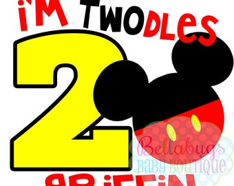 I'm Twodles Mickey Mouse Birthday IRON ON TRANSFER - Tshirt - Bodysuit - Boy - Tote Bags
