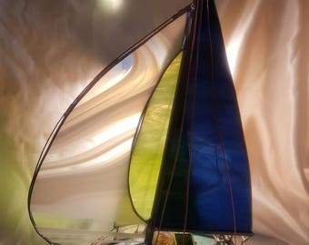 Medium   Stained Glass Model Boat Sloop with Spinnaker Streaky Navy Lime Green White Sails OOAK