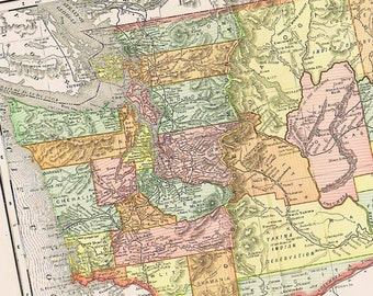 1895 Antique Map of WASHINGTON, Perfect for Framing, west coast, Seattle, Space Needle, pacific northwest, Puget Sound, Cascade mountains