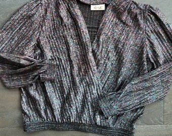 Vintage SHIMMER TINSEL Disco Wrap 80s Blouse (m)