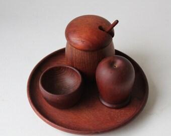 Rare: Kay Bojesen Teak Condiment Set 8pcs Set, Denmark, Mustard, Pepper, Salt