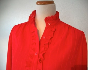 Red ruffle blouse top - secretary style - La Blouse