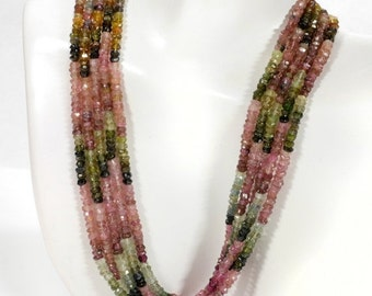 ON SALE Watermelon Tourmaline Rondelles Beads Pink Tourmaline Green Tourmaline Faceted Tourmaline Shaded Earth Mined 6.5 Inch Strand - 3mm