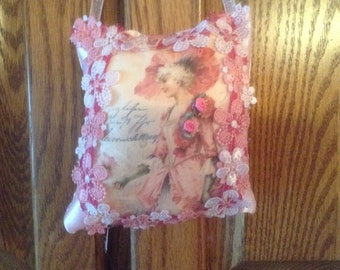 7 inch lavender scented sachet in pink with image of Victorian lady