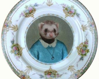 "Juliet Ferret School Portrait - Altered Vintage Plate 10"""