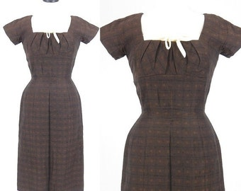 SALE 50s Dress, 1950s Suzy Perette Dress, Brown Fitted Wiggle Dress, Small