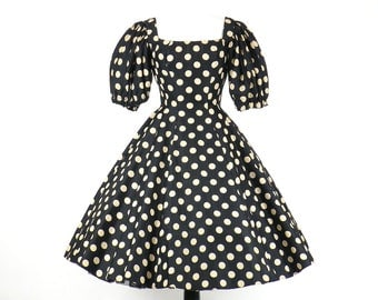 50s Dress, 1950s Rockabilly Dress, 50s Circle Skirt, Polka Dot Dress, Suzy Perette New Look Dress, Black and Tan Silk Dress