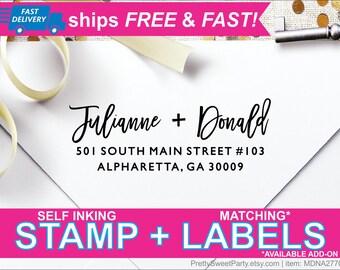 Return Address Stamp Self Ink, Custom Address Stamp, Wedding Stamp, Return Address Labels, Calligraphy Address Stamp, Custom Stamp MDNA2770