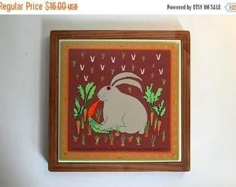 Vintage c. 1982 Bunny Rabbit Ceramic Tile Trivet and Wall Hanging - 1980's Kitchen Decor