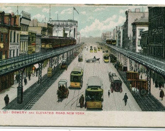 The Bowery Street Scene Streetcar New York City NY NYC 1908 postcard