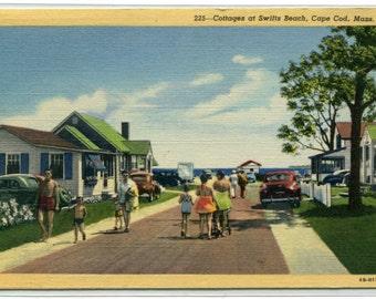 Cottages People Swifts Beach Cape Cod Massachusetts linen postcard