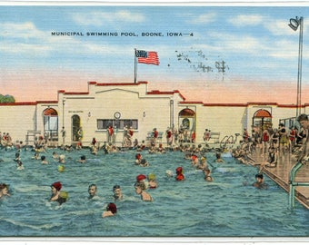 Swimming Pool Municipal Boone Iowa 1942 linen postcard