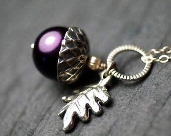 "Purple Glass Pearl Acorn Oak Leaf Sterling Silver Necklace - ""Sylvan Wood"""