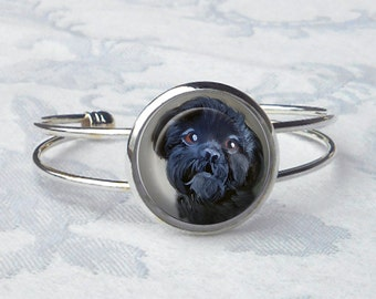 Black Shih Tzu Cuff Bracelet ~ June Birthday ~ Dog Bracelet ~ Shih Tzu Owner ~ Pet Keepsake ~ Bangle Bracelet
