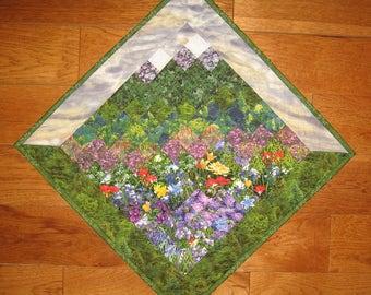"""Purple Skies Mountain Flowers Art Quilt, 29"""" Diagonal Textile Landscape"""