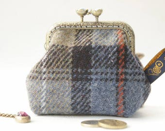 NEW Bronze metal frame coin purse/blue grey pearls/Check blue beige Harris tweed/ Liberty tana lawn
