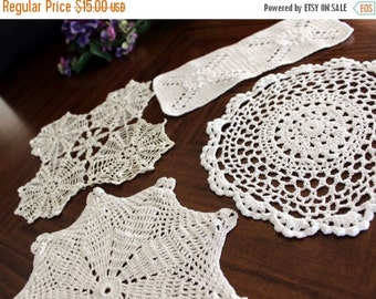 Crochet Doilies, 4 Assorted Knit Doily Lot, Vintage Doily Collection, Whites 13703