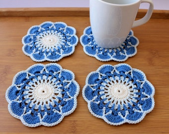 Free Shipping Holiday Christmas Crochet Flowers Cotton Coasters 6 Piece Set
