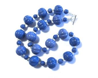 Kazuri Bead Necklace, Fair Trade Beads, Ceramic Necklace, French Blue/Cornflower Blue Kazuri Necklace