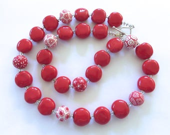 Samunnat and Kazuri Bead Necklace, Red and White Necklace