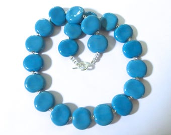 Kazuri Beaded Necklace, Fair Trade, Turquoise Coloured Ceramic Necklace