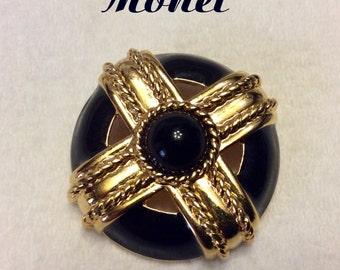 Vintage black and gold Monet circle brooch pin. Free ship to US.