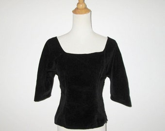Vintage 1950s Blouse / 50s Black Velveteen Blouse / 50s Black Blouse By A Linda Original - S, M