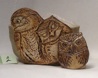 Owl Yarn bowl, Stoneware Ceramic Yarn Bowl, Owl Button No. 2