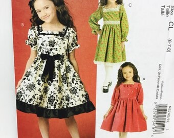 Uncut, 6-7-8 McCall's Girls' Dress, Easter or Summer Sun Dress  M5742 Sewing Pattern, Sew Crafty, 3 designs