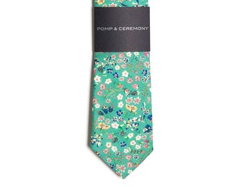 Men's tie, Liberty print Donna Leigh, mint