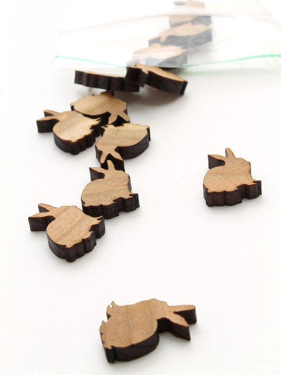 Spring Mini Bunny Charms or Beads - Itsies - Laser Cut Wood Rabbits from  Timber Green Woods. Made in the USA. Holes or No Holes.
