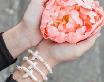 Sideways Cross Bracelet, Freshwater Pearl Bracelet, Religious Jewelry