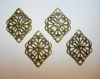 Oxidized Brass Victorian Filigree Earring Findings Drops Stampings - 4
