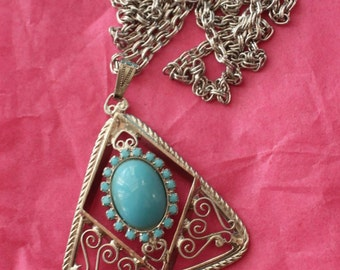 Bohemian Style Filigree Pendant Necklace