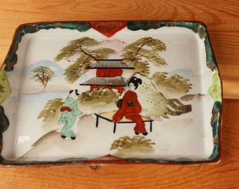 Reserved For LUNA   Old Japan Geisha Pattern Mini Vanity Tray