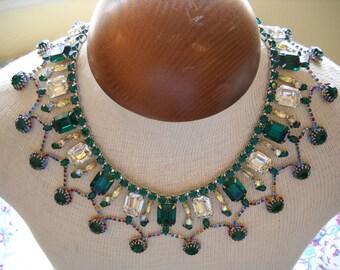 Stunning Dominique Bib Necklace Rhinestones Huge Designer Signed Emerald Green