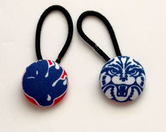 U of A University of Arizona Fabric Covered Button Ponytail Holders