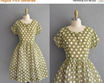 25% off SHOP SALE... vintage 1950s dress / 50s green polka dot print cotton vintage dress