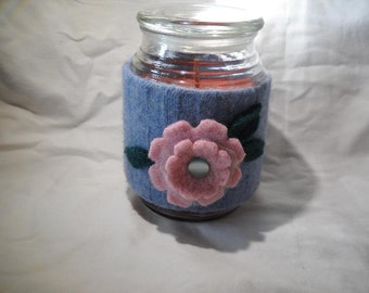 Felted Wool Pink Flower Candle Cozy