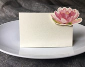 Pink flower Place cards, Escort Cards - pink Lily - Small Tents- Events, Weddings, Showers, Parties, decoration. Place cards, Signs.