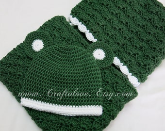 Baby Shower Gift Set - Crochet baby blanket - Unisex baby Blanket Dark green/White Small blanket and Teddy Bear Hat- Michigan State Football