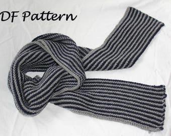 KNITTING PATTERN- The Classic Man in PDF.  Scarf knitting pattern.