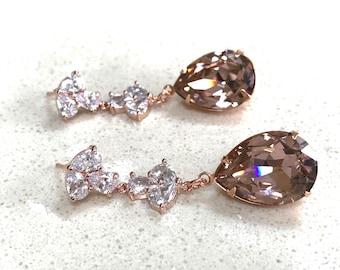Vintage Rose Crystal Dangle Bridal Earrings Wedding Bridesmaids  Drop Earrings Prom Pageant Jewelry