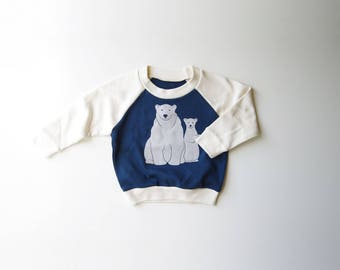 Polar Bears | Organic Kids Raglan | Hand Made | Toddler Shirt | Unisex Kid Shirt | Screenprinted Sweater | Toddler Long Sleeve | Hipster Top