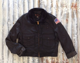 Vintage 70's Black Bomber Jacket / Flight Motorcycle Jacket / Biker Men Women S M L