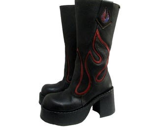 Hellfire Platform Motorcycle Boots Vintage Women's Destroy Black Leather Flame Knee High Clubkid Stacks Fits Wms US Size 10 Made In Spain