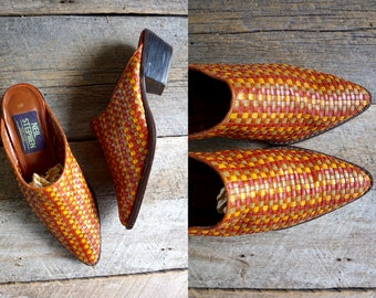 Woven Leather Mules Size 8  //  Winklepicker Shoes  Sz 38.5  //  THE ADANA