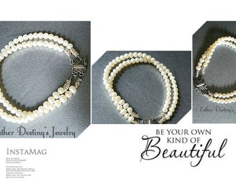 Pearl Bracelet, Pearl Bracelet with Vintage Butterfly Clasp, Double Strand Pearl Bracelet, Pearl and Sterling Silver Bracelet, Gift for Her